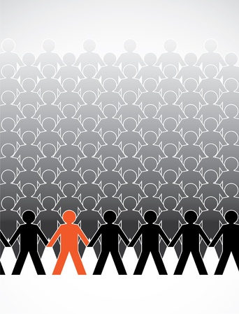 cooperativismo: montaje de figuras humanas en una fila - ilustración Vectores