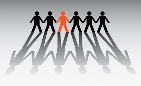 apoyo social: figuras humanas en una fila - ilustración
