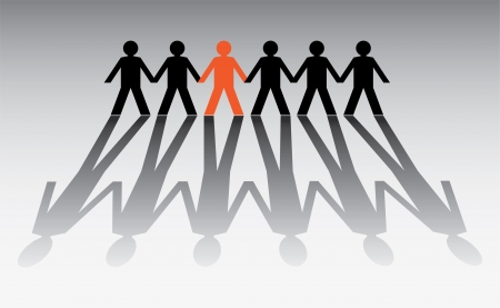 human figures in a row - illustration