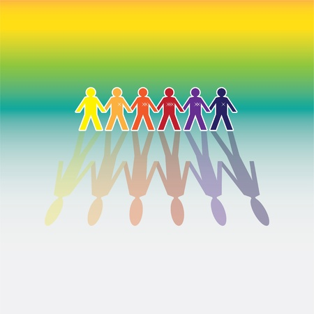 linked hands: color human figures in a row - illustration
