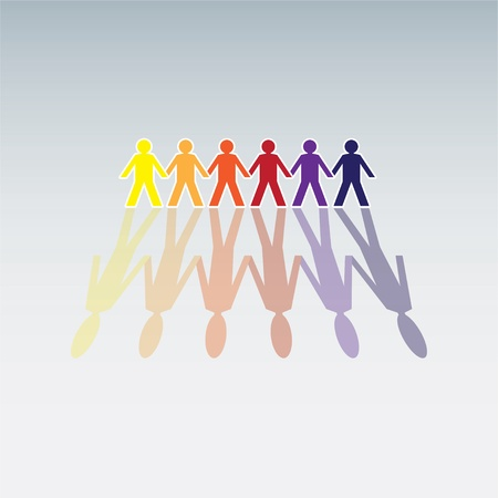 hand holding paper: color human figures in a row - illustration