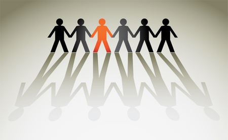mu�ecas de papel: figuras humanas en una fila - ilustraci�n