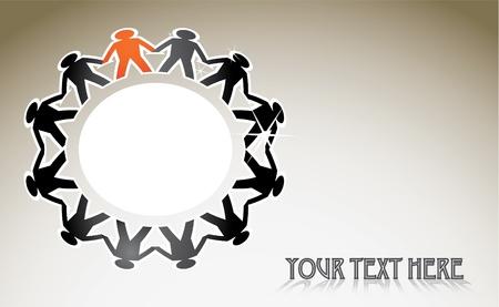cooperativismo: figuras humanas en un círculo - ilustración Vectores