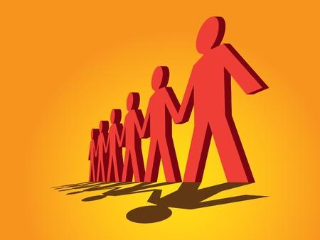 cooperativismo: figuras humanas en una fila - ilustración