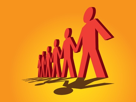 cooperative: human figures in a row - illustration