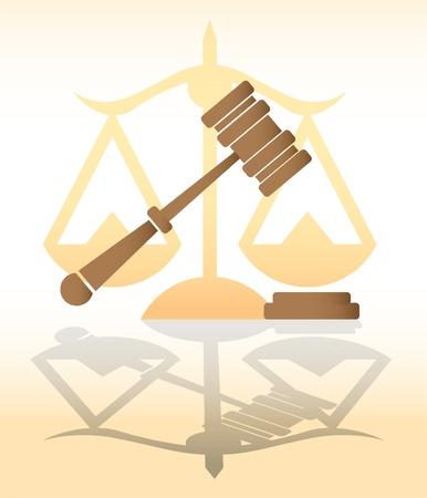 justice, judge hammer, law - illustration Vector