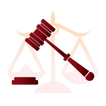 justice, judge hammer, law - illustration Illustration