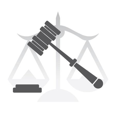 judgement: justice, judge hammer, law - illustration Illustration