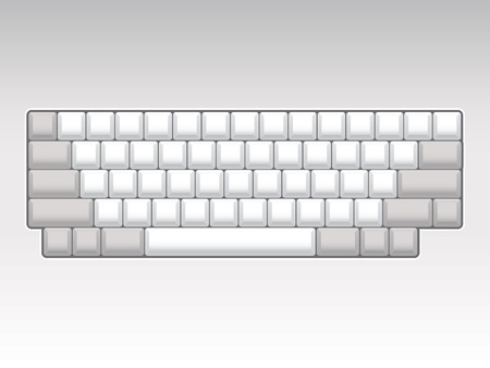 hands on keyboard: blank keyboard layout - realistic illustration