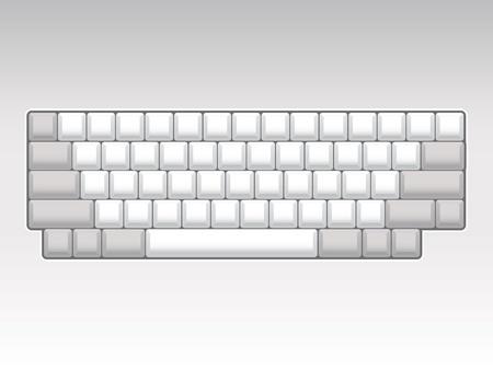 teclado: distribuci�n del teclado en blanco - ilustraci�n realista