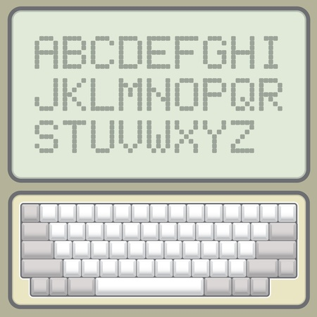 blank keyboard retro layout with pixel alphabet -  illustration Stock Vector - 11904645