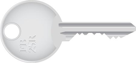 steel door: isolated metallic key - detailed realistic illustration