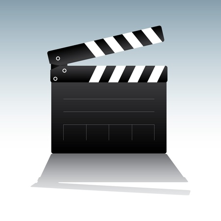 take action: illustration of movie clapper board on light-blue