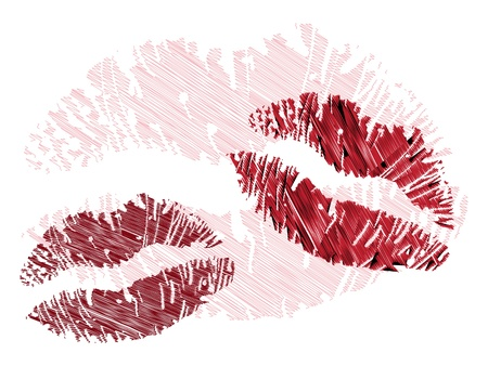 isolated grunge lips print on white - illustration Vectores