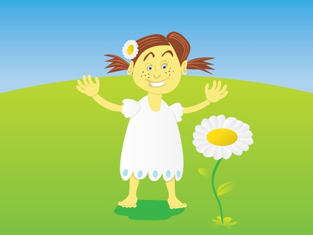 little girl with flower Stock Vector - 12007409