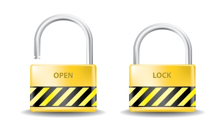 padlock open and close realistic illustration Stock Vector - 12007415