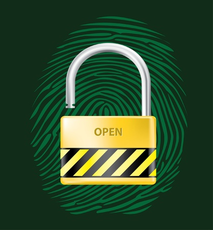 padlock open and close realistic illustration Stock Vector - 12007413