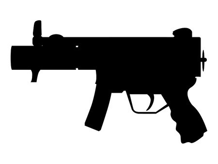 machine gun isolated - silhouette illustration Vector