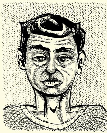 young man portrait - monochrome illustration Vector