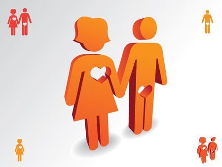 Man and woman with heart cut off - illustration