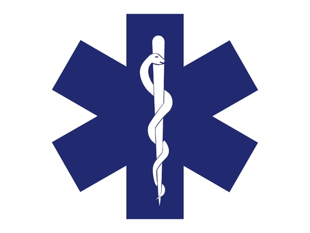 the medic: emergency medical symbol blue cross - illustration Illustration