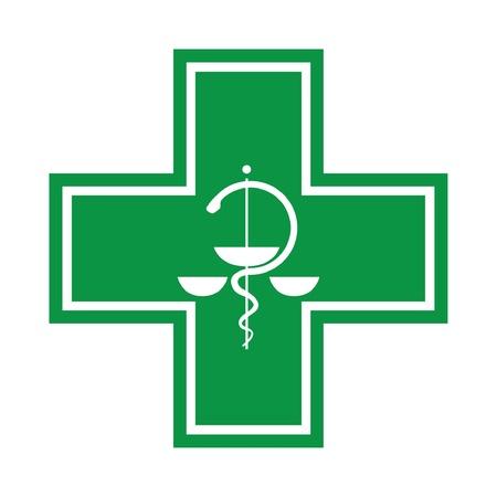 s�mbolo de la medicina: M�dico de la cruz - s�mbolo con la serpiente - ilustraci�n Vectores
