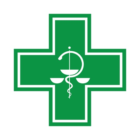 doctor symbol: Medical cross - symbol with snake - illustration Illustration