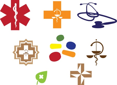 Medical symbols and stuff - colored silhouette illustration Vector