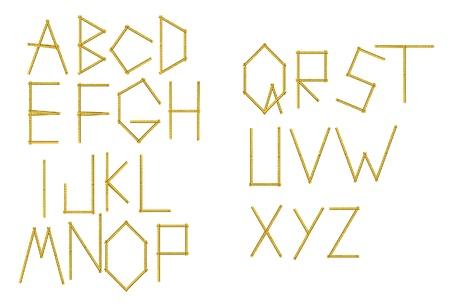 wooden work: Lettere dell'alfabeto creati dallo strumento metro - illustrazione