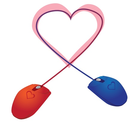 two mice in love over the Internet - illustration Vector