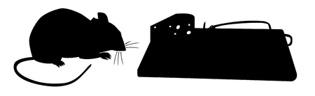 pest control equipment: Mouse traps before - silhouette illustration
