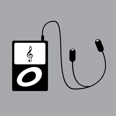 portable mp3 player: Portable mp3 player with phones - illustration Illustration