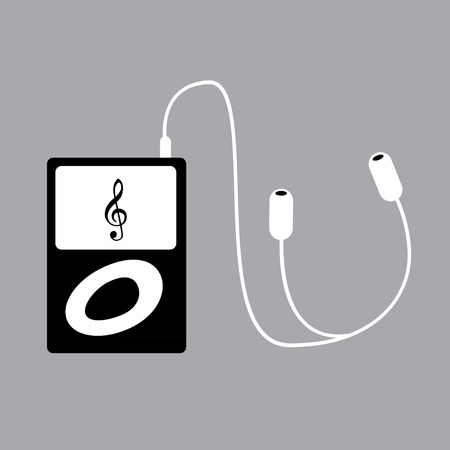 portable mp3 player with phones Vector