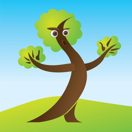 Mr. Tree on green lawn illustration Vector