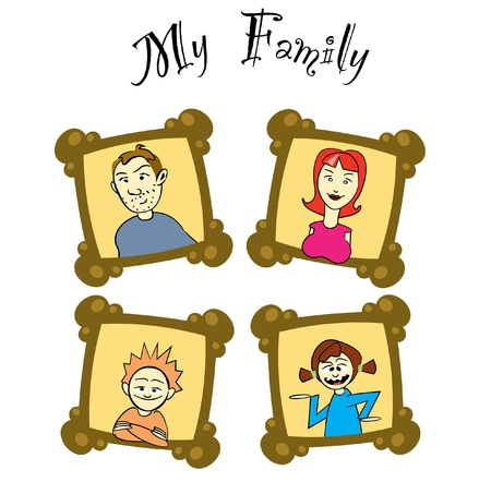 my family on frames - illustration Vector