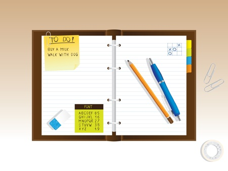 notepad diary - reallistic illustration