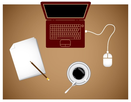 notebook coffee pad and mouse - illustration Vector