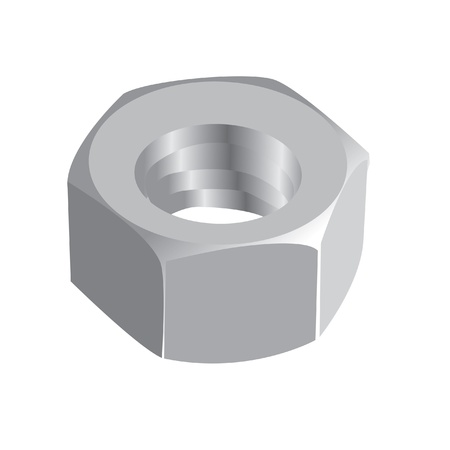 nut bolt: shiny metal nut - realistic illustration