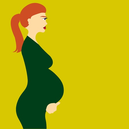 beautiful pregnant woman - illustration Vector