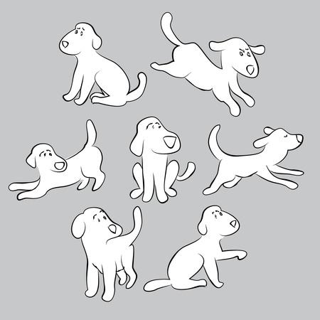 conjunto de perritos lindos - ilustración aislada
