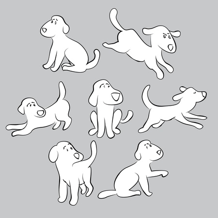 golden retriever puppy: set of cute puppies - isolated illustration
