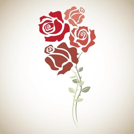 passion flower: four red roses - sketch illustration Illustration