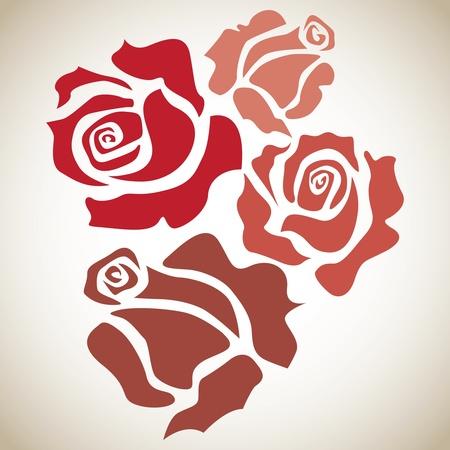 4 つの赤いバラ - スケッチ図