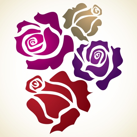 rose stem: four color flower rose - sketch illustration