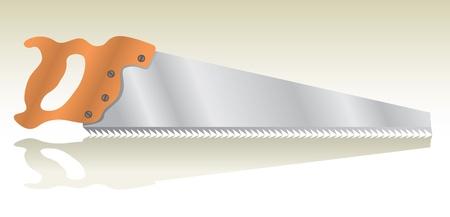 wood craft: isolated saw, shadow - realistic illustration Illustration