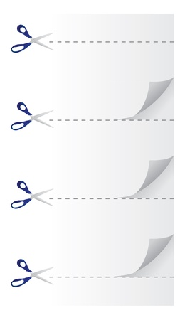 scissors cutting paper - realistic illustration Vector