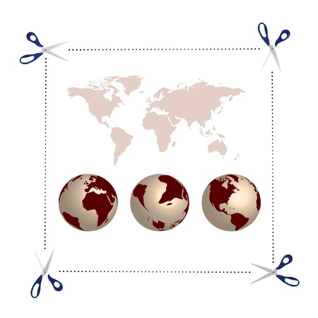 dedicate: scissors, globes and world map - illustration