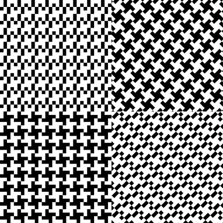four seamless pixel pattern illustration Vector