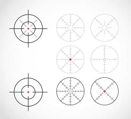 telescopic: punto de mira fijado ilustraci�n Vectores