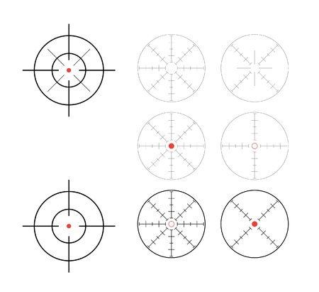gun sight: set of crosshairs direction finders - illustration